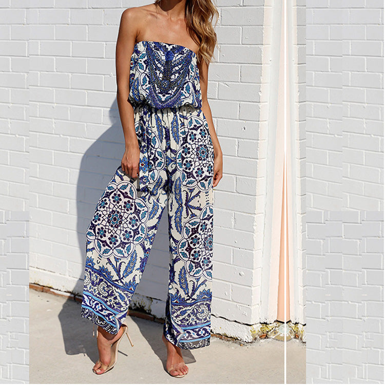 Sleeveless Sexy Casual Backless Strapless Floral Print Jumpsuits
