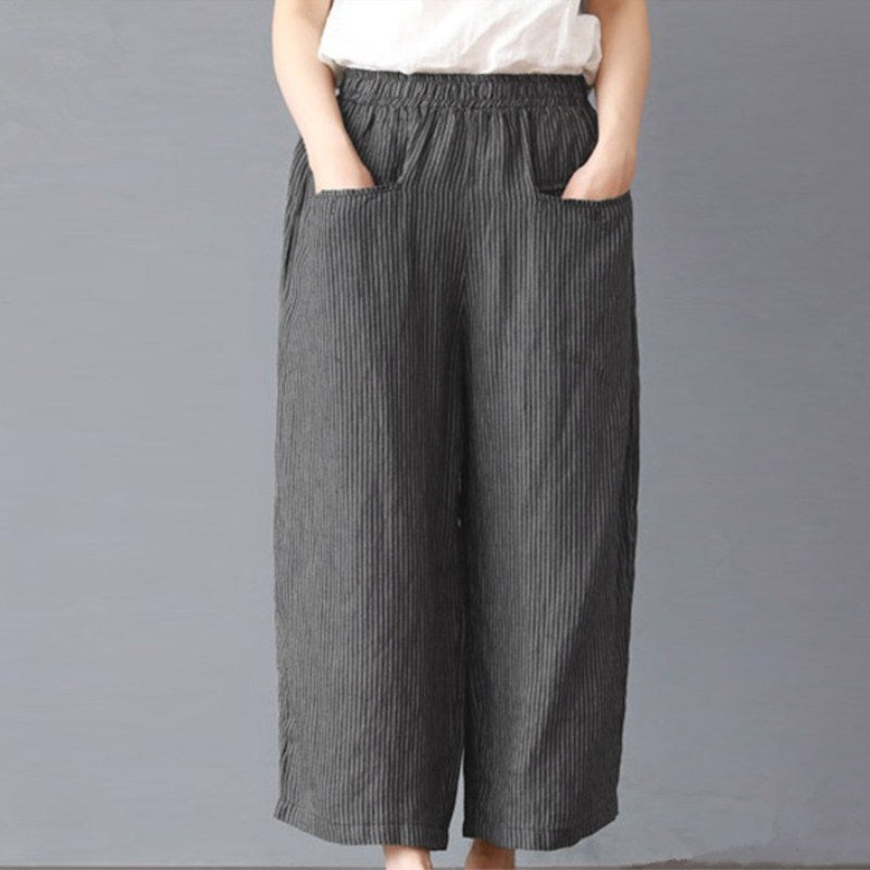 Casual Elastic Waist Wide Leg Pants Casual Striped Plus Size Cotton Linen Loose Trousers