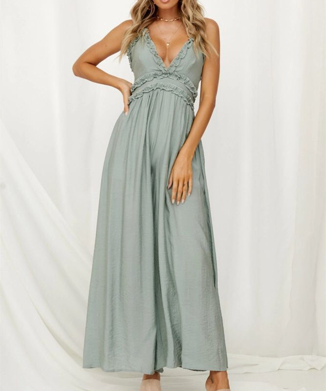 Elegant Sling Sexy Deep V neck Backless Jumpsuit