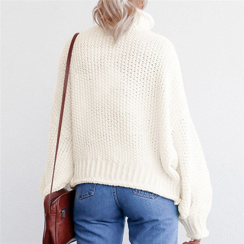 Turtleneck Winter 2019 Knitted Sweater Women Pullovers Casual Orange Sweaters Loose Female Jumpers