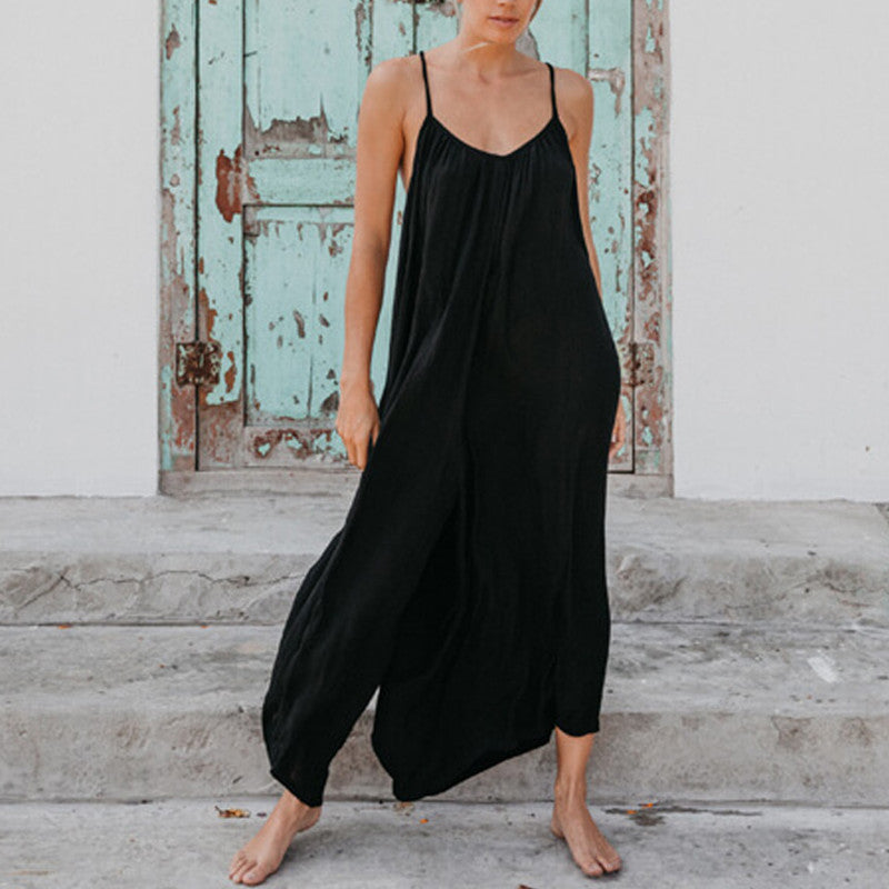 Summer Black Rompers Women Sexy Plus Size Jumpsuits