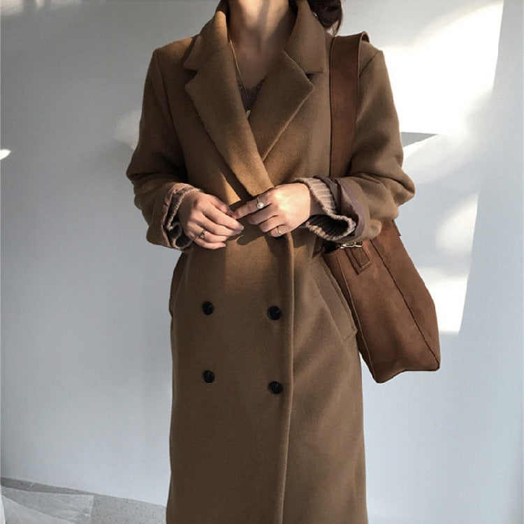Fashion Woolen Streetwear 2019 Spring Warm New Solid Long Female All Match Overcoat Plus Size