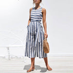 Casual Striped Summer O-Neck Sleeveless Jumpsuits