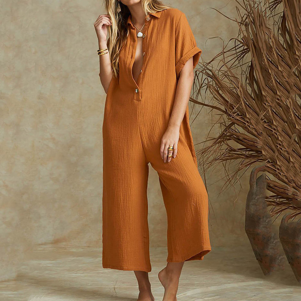 Fashion Trend Loose Piece Trousers Elegant Solid Short Sleeve Jumpsuit