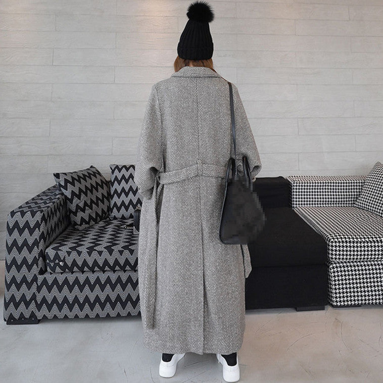 Winter Women Long Woolen Coat Fashion Herringbone Pattern Loose Jackets And Coats