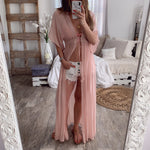 Beach Sexy V-neck Lace Short Sleeve Loose Maxi Dress