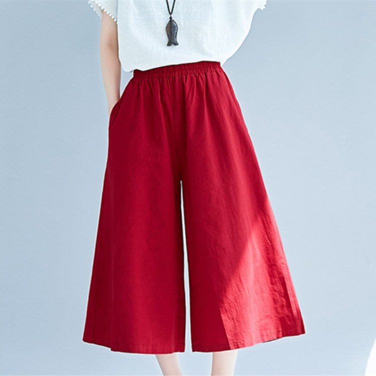 Autumn Wide Leg Pants Loose Casual Ankle-Length Pants