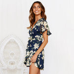 Summer Floral Print Sashes Ruffle Short Dress Sexy V-neck Holiday Beach Mini Dress
