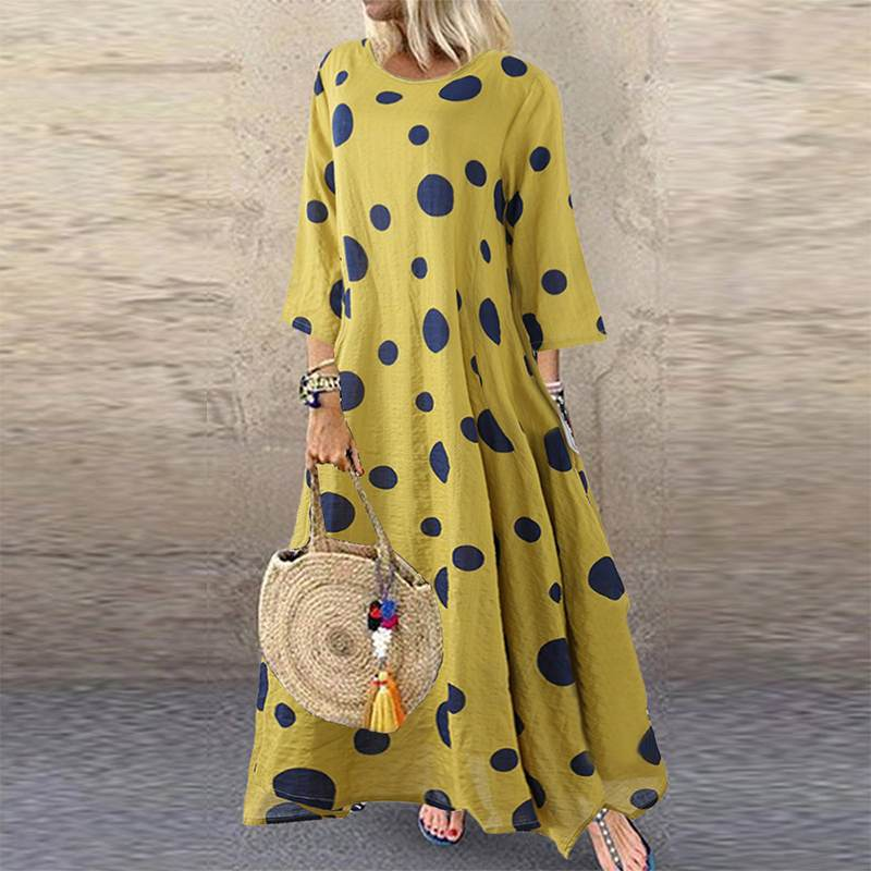 Autumn 3/4 Sleeve Polka Dot Printed Long Dress Vintage Women's Cotton Linen Dresses Female Kaftan Vestido Femme Sundress