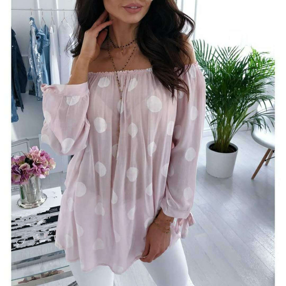 Polka Dot Shirt Long Sleeve Sexy Off Shoulder Top