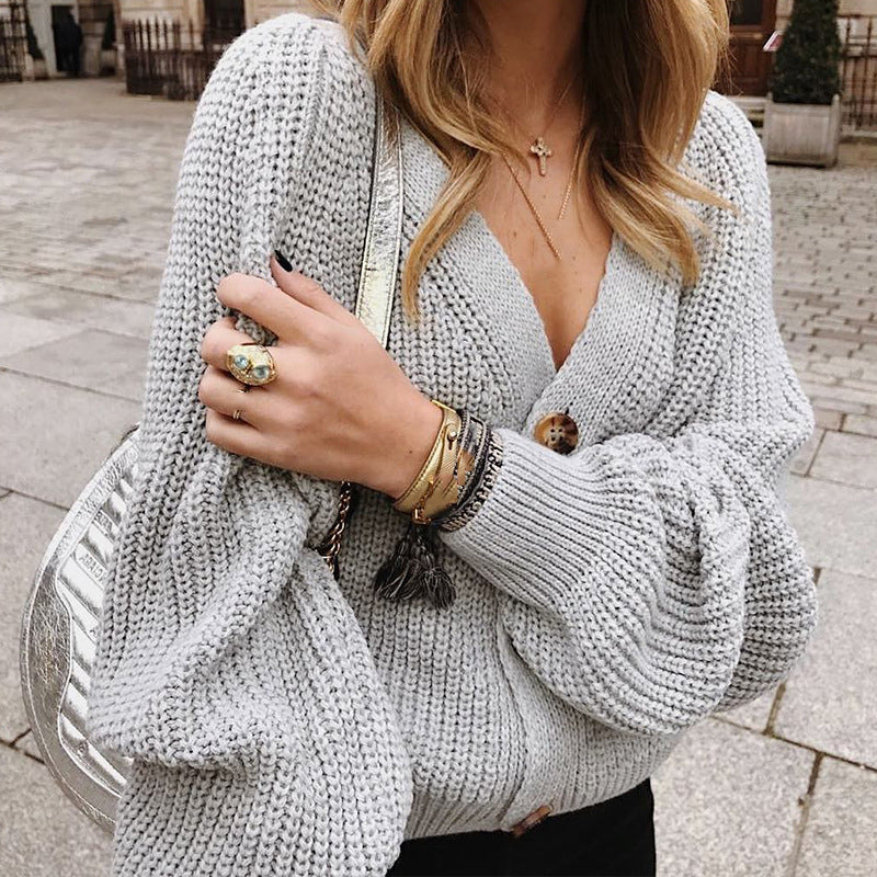 Knitted Solid Basic Autumn Winter Long Sleeve Buttom V Neck Sweater
