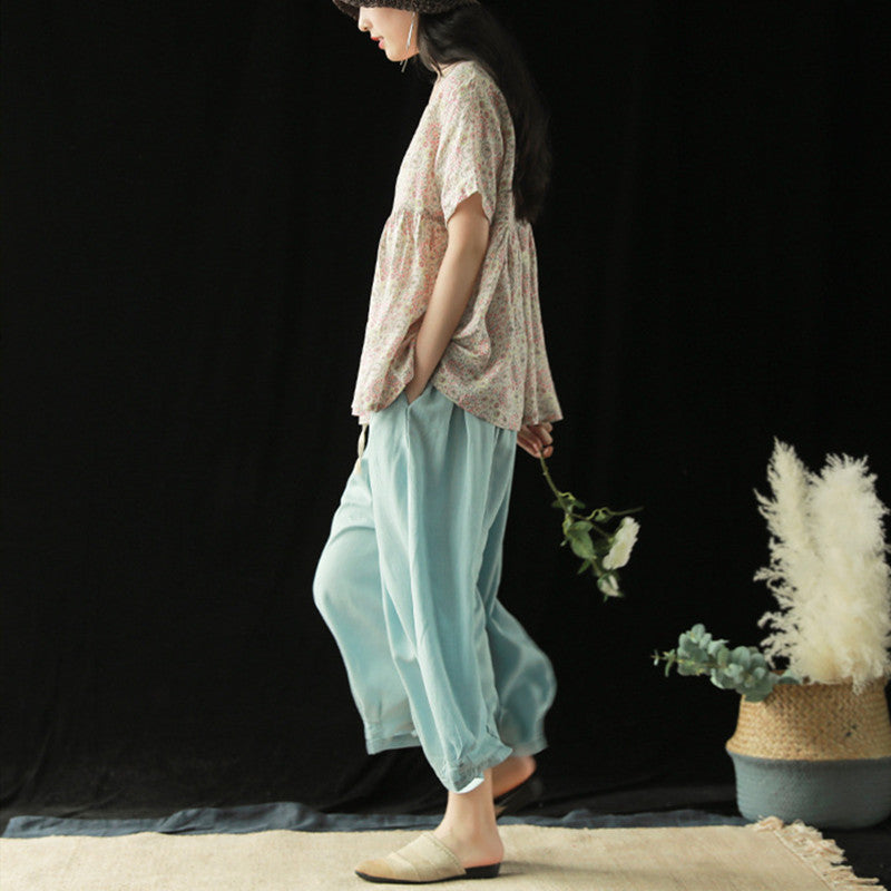 Loose Tencel Jeans Wide Leg Pants Ankle-length Fashion Women Jeans