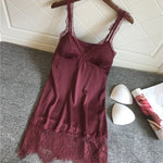 V-Neck Backless Nightgowns Sexy Satin Lace Spaghetti Strap