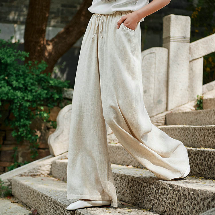 Solid Color Wide Leg Pants Women Elastic Waist New Pockets Cotton Linen Pants