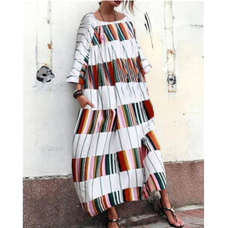 Ladies Casual Long Sleeved Color Block Striped Print Loose Maxi Dress