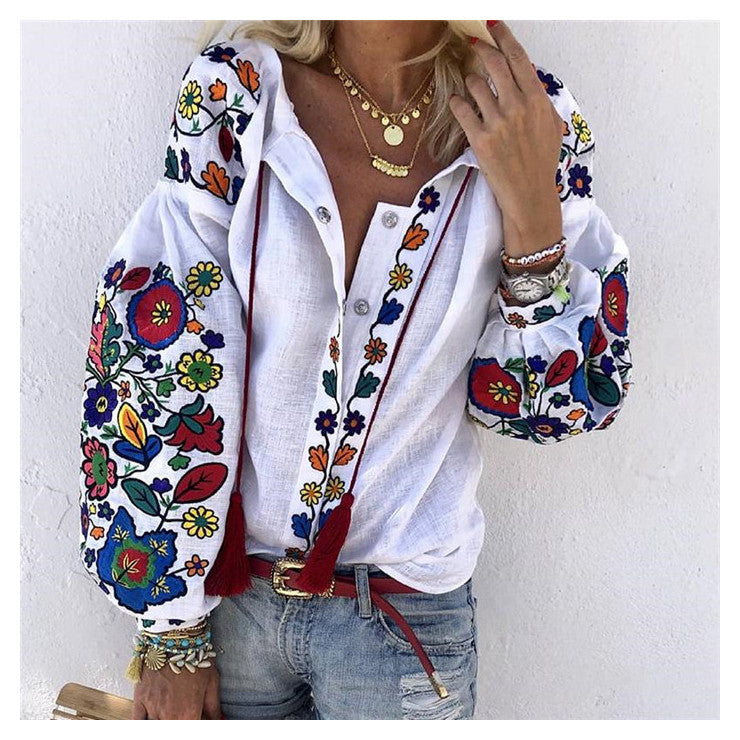Women Turn Down Collar Boho Long Sleeve Ethnic Floral Embroidery Blouses