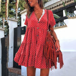 Printed Polka Dot Summer Dress V Neck Short Sleeve Bohemian Dress