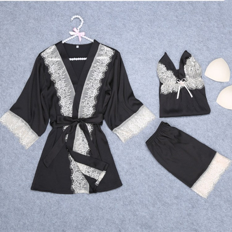 Lace Three Piece Sleepwear Women Lace-Up Solid Pajama Sets