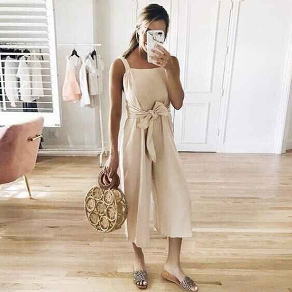 Summer Casual Shoulder-Strap Sashes Bow Lace-up Jumpsuits