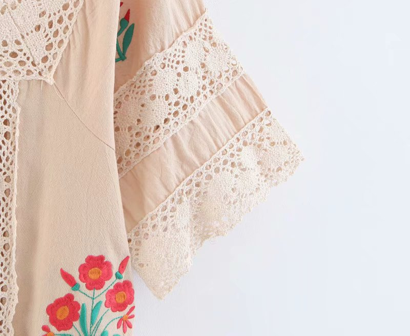 Floral Embroidered Beach Dress Crochet Lace Square Neck Women Dresses