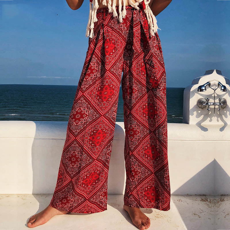 Loose Wide Leg Pant Women High Waist Female Pant Summer 2019 Belt Bow Tied Print Bohemian Trousers
