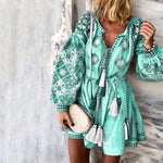 Autumn Lantern Long Sleeve Mini Dress Women Sexy V-neck Floral Print Party Dress Vintage Lace-up Tassel Plus Size Dress