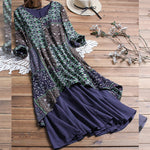 2019 new Explosion Models Dress New Cotton and Linen Printing Mosaic Dress Women Fashion Loose Large Size Women's Clothing