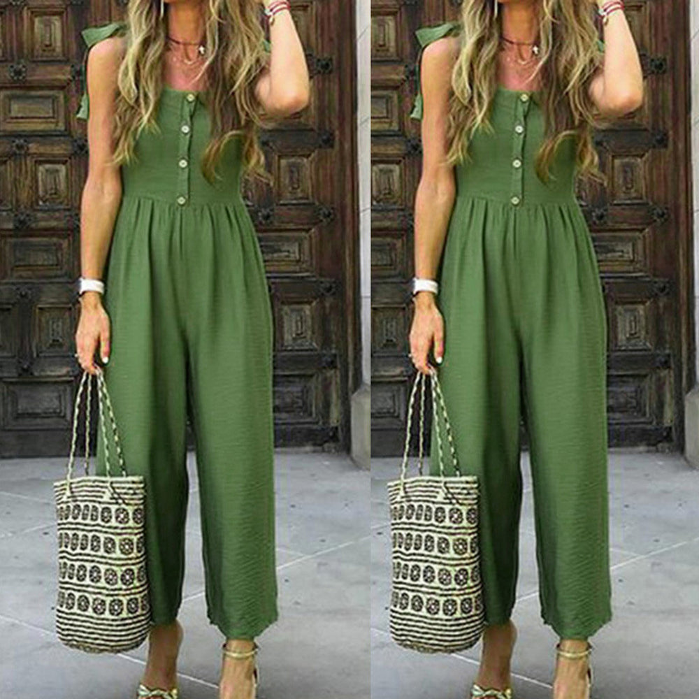 New Green Simple Casual Summer Solid Color Jumpsuit