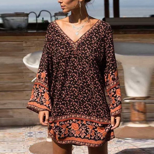 V-Neck Long Sleeve Vintage Floral Print Dresses