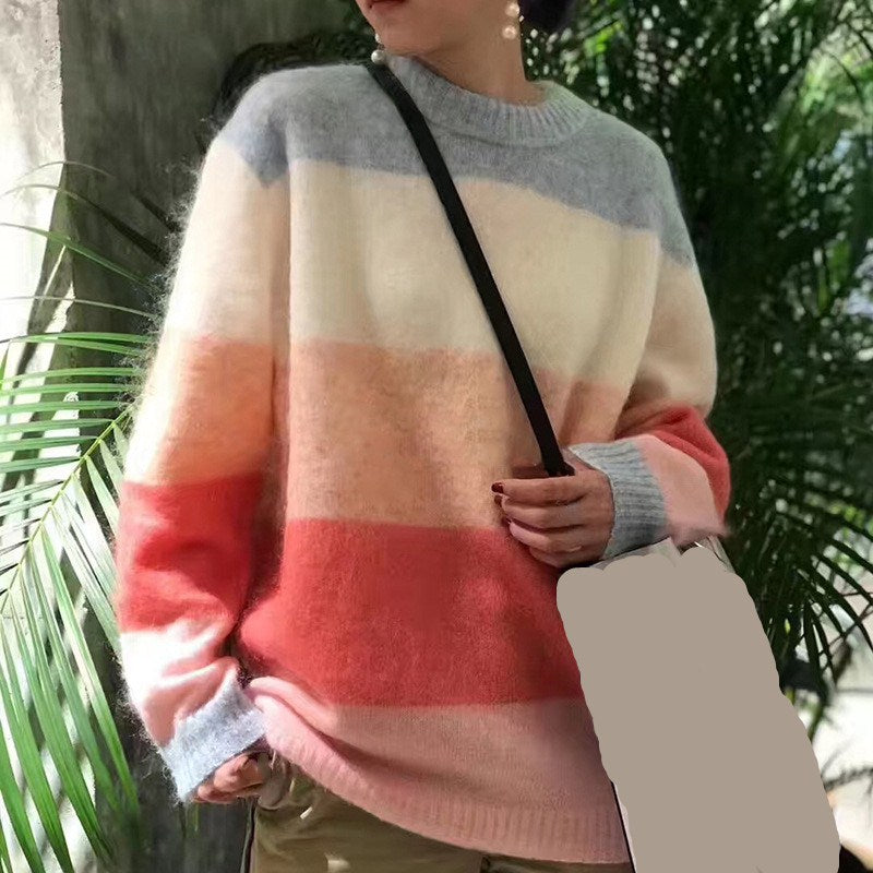 Candy Color Mohair Striped Knitted Pullover Spring Autumn Long Sleeve Loose Tops