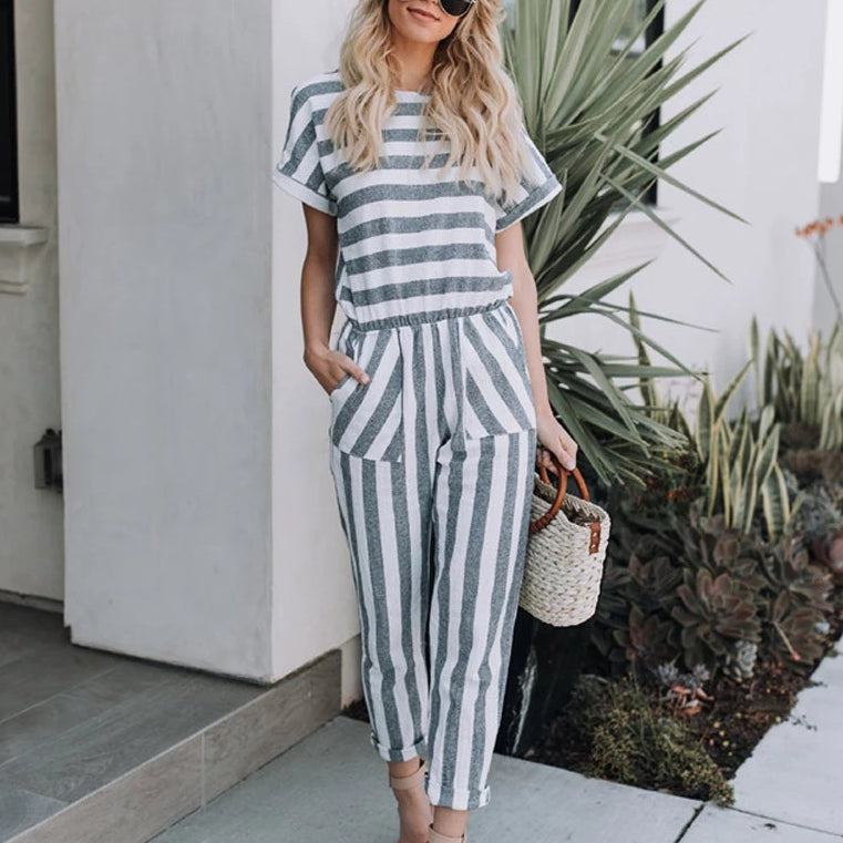 Striped printed Casual Streetwear jumpsuits with pocket