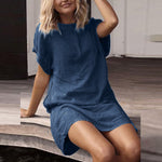 Summer Casual Solid Short Sleeve Dress Crew Neck Linen Dress
