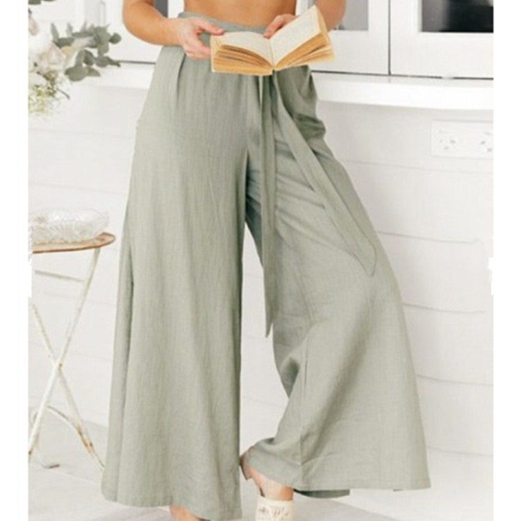 Solid High Waist Thin Pants Tie Bow Beach Trousers Spring Autumn Split Wide Leg Pants