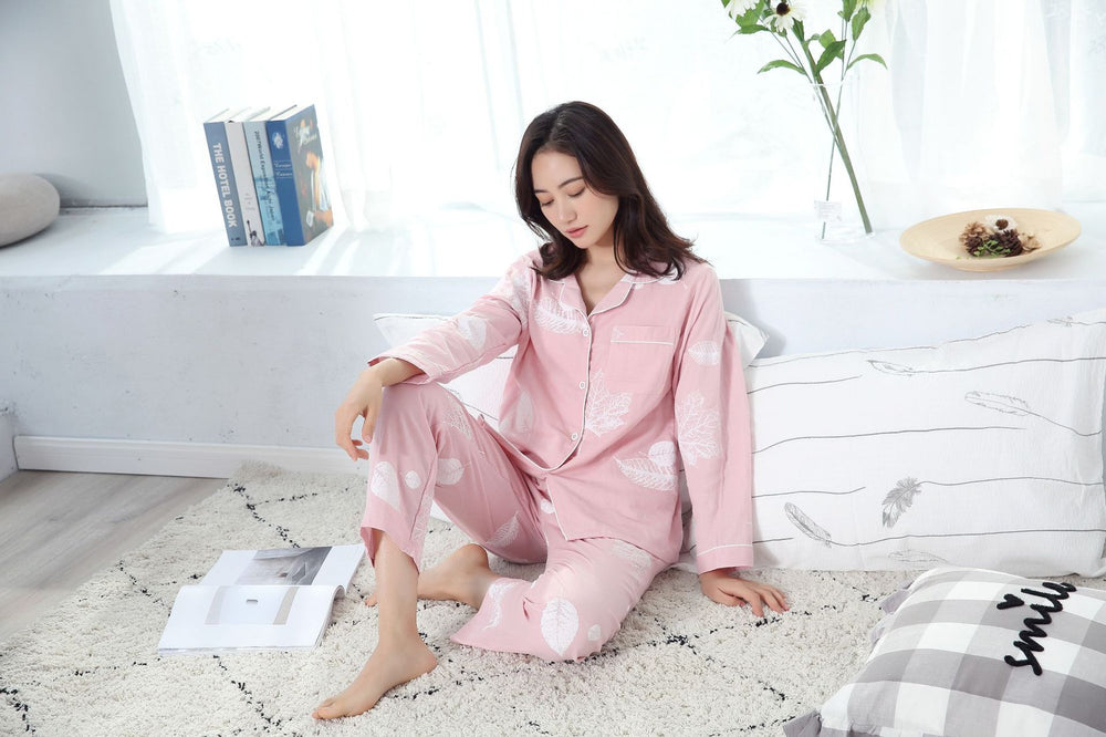 Leaf Pajama Sets Women 100% Gauze Cotton Long Sleeve Casual Sleepwear
