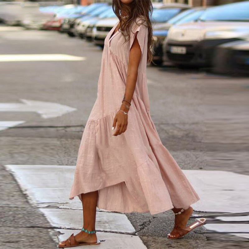 Summer Bohemian V neck Short Sleeve Ruffles Maxi Dress