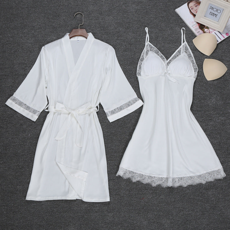 Ladies Sexy Silk Satin Robe Gown Set Lace Bathrobe Set 2 Pieces Solid Sleepwear