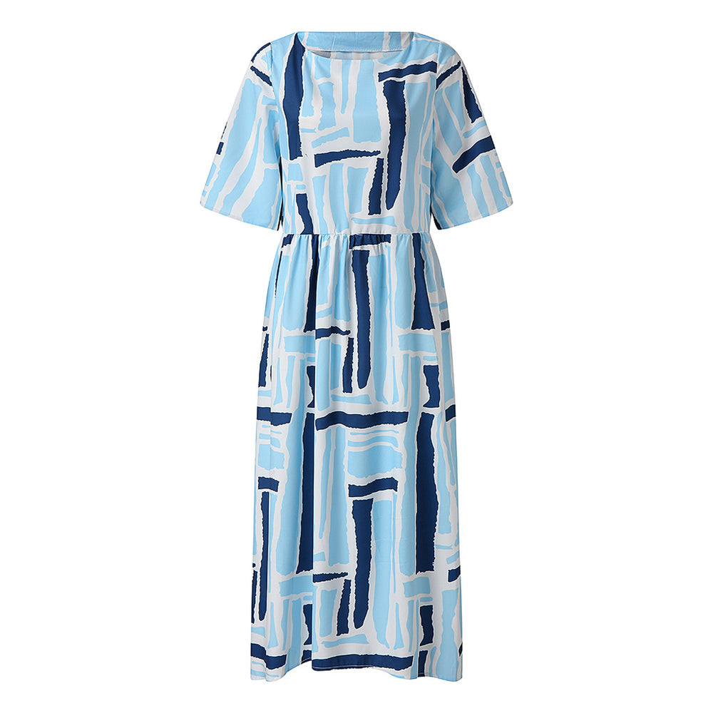 Bohemian Women Floral Printed Beach Dress O Neck Half Sleeve Party Vestido Casual Loose Dresses Kaftan
