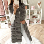 Warm Faux Fur Fox Vest Women Winter Casual Artifical Fur Warm Coat Super X-Long Waistcoat Female Faux Fur