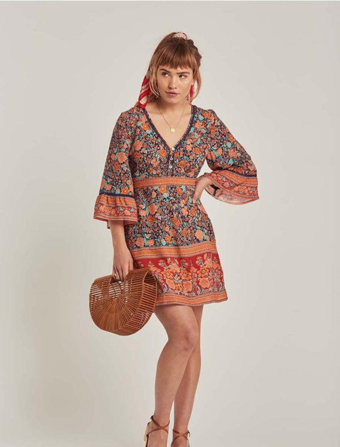 Boho Floral Print Cotton V Neck Three Quarter Sleeve Vintage Bohemian Dress