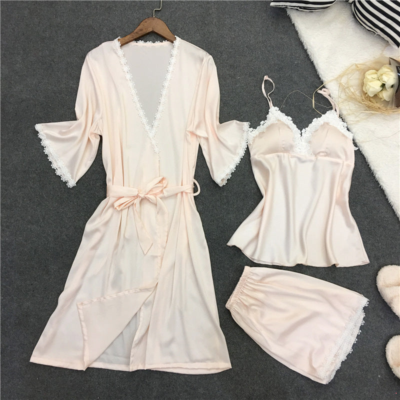 Silk Women Pajamas Set 3PCS Sleepwear Sexy Women Robe Set Soft Nightwear