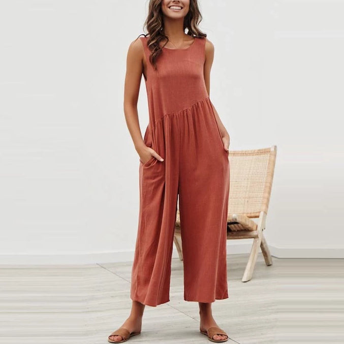 Casual Loose Spring Summer Black White Boho Jumpsuit