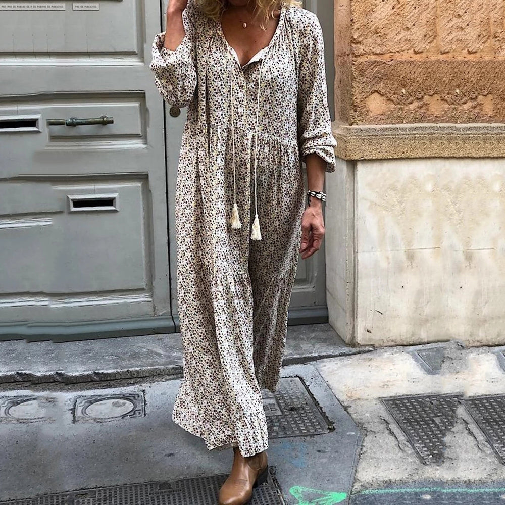 Sexy V-Neck Long Sleeve Boho Floral Print Long Dress