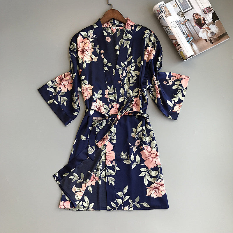 Sexy Fresh Floral Bathrobes Women Long Sleeve Kimono Pajamas