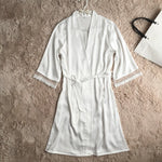 Summer Patchwork Lace Nightwear Ladies Lace-Up Sexy Sleepwear V-Neck Half Sleeve Mini Robe