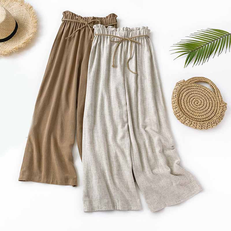 Casual Summer Wide Leg Pants Linen High Waist Palazzo Pants