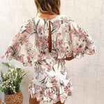 Bohemian floral print Vintage hollow out ruffled v neck summer dress