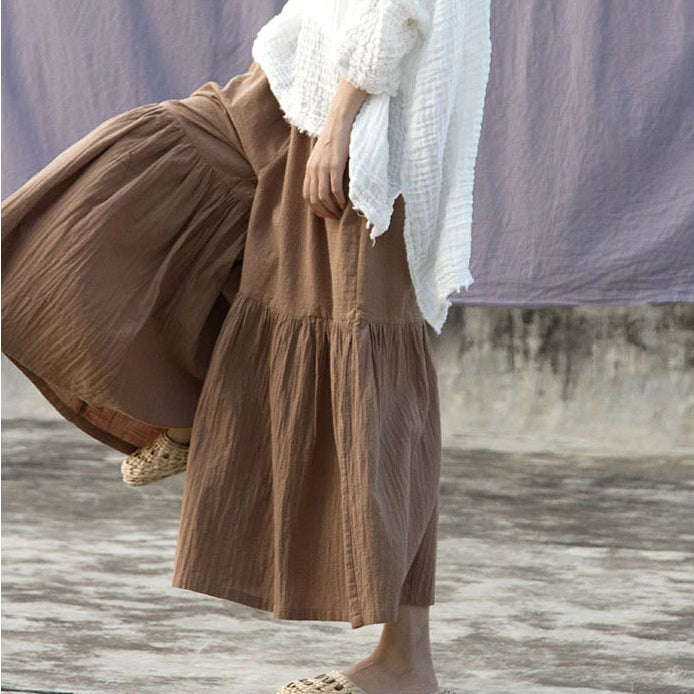 Summer Elastic Waist Wide Leg Pants Plus Size Women Cotton Linen Pants
