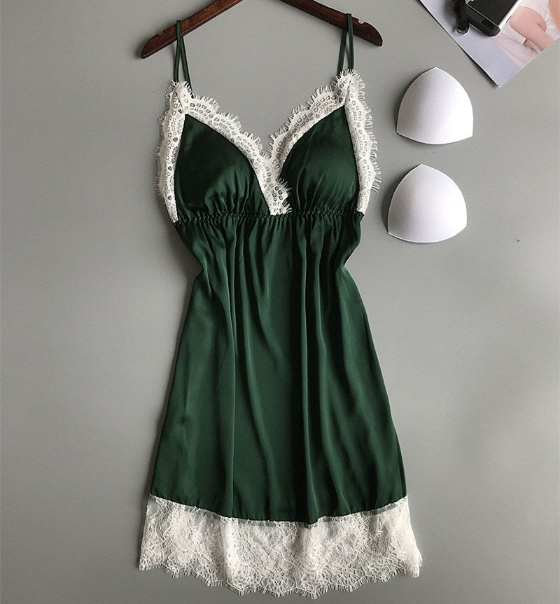 Women Sexy V-Neck Robe & Gown Sets Summer Belt Sling Nightdress Two Pieces Sleepwear Suits