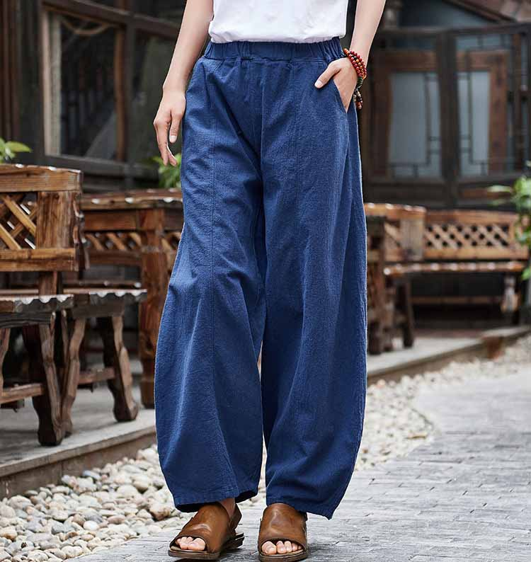 Casual Women Cotton Linen Pants Summer Elastic Waist Pants