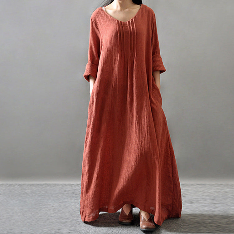 Solid V Neck Long Sleeve Cotton Retro Maxi Dress Plus Size Dress